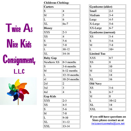 Twice as Nice Kids Consignment - Tagging - Size Conversion Chart