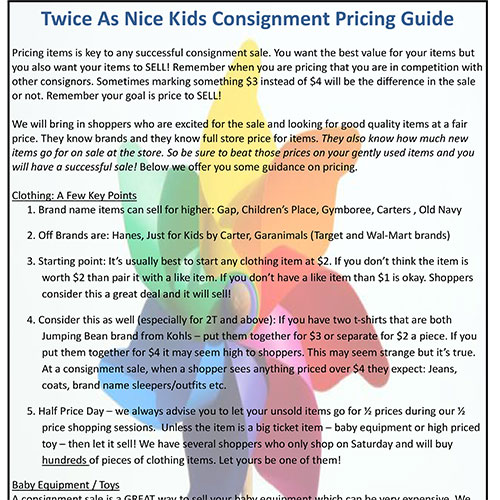 Twice as Nice Kids Consignment - Tagging - Pricing Guide