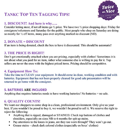 Twice as Nice Kids Consignment - Tagging Top 10 Tips